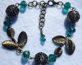 Bronze Leaves and Green Crystals