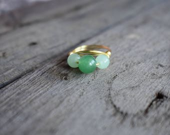 Aventurine ring – triple bead - drilled natural stone