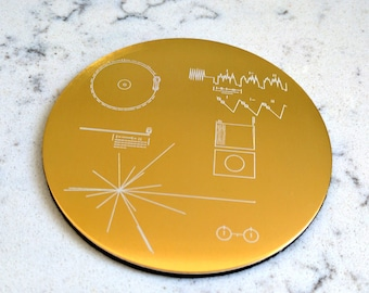 NASA Voyager Golden Record - Set of four/six coasters, exquisitely laser engraved. 40th Anniversary of Voyager launch