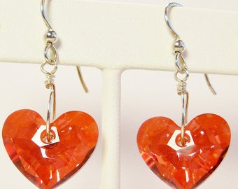 Swarovski Crystal Earrings, Swarovski Red Magma Heart Earrings, Crystal Jewelry, Handmade, Red Crystals,Swarovski Red Magma Crystal Earrings