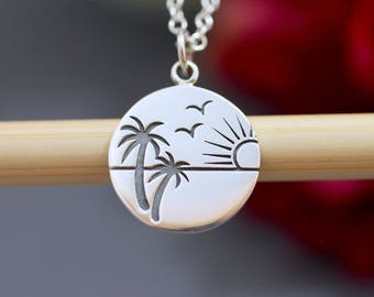 Sterling Silver Palm Tree Charm - Beach Charms - Ocean Charms - Sun Charms