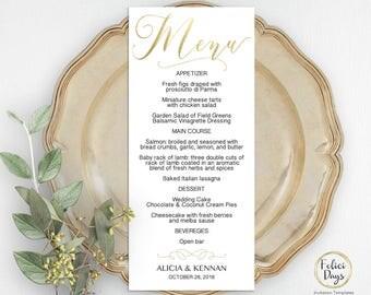 Gold Wedding Menu Template, DIY Wedding Menu Template, Printable Gold Wedding Menu, Editable Menu Template, PDF Instant Download GW180