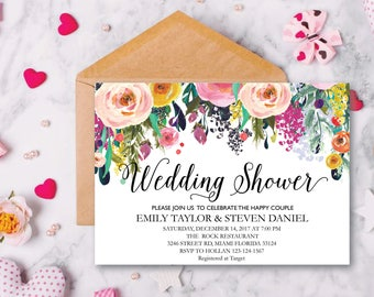 Wedding Shower Invitation, Fall Floral Bridal Shower Card, Couples Shower Invite, Fun wedding program, Instant Download, Decor, Signs, WS 13