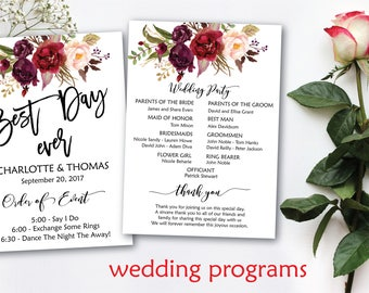 Wedding programs, Boho wedding programs, DIY Wedding Program, Fun Wedding Program, Printable Wedding Program Fan - INSTANT DOWNLOAD.