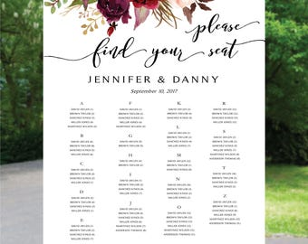 Printable Wedding Seating Chart, Wedding Seating Chart Alphabet, Wedding Table seating assignment, Boho wedding seating chart, Alphabet SC61