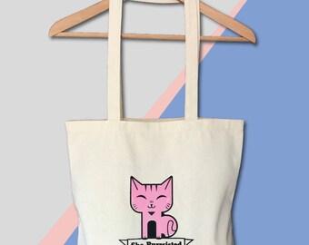 Feminist Tote She Purrsisted Screen Printed Bag