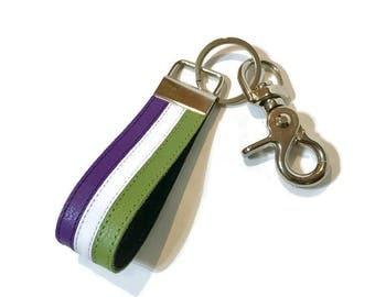 Genderqueer pride keychain, genderqueer leather key chain, lgbtq keychain, lgbt key chain, lgbtq.