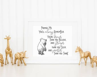 Promise Me You'll Always Remember Classic Winnie the Pooh Landscape Printable Quote | Children's decor Classic Winnie the Pooh Nursery Decor