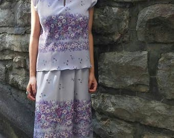 Floral Lavender 80s Two Piece