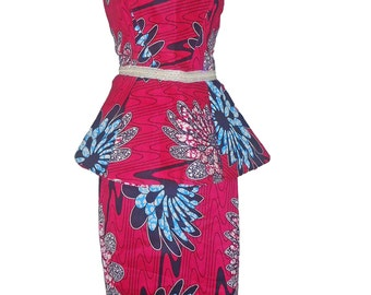Ankara Peplum Top and Skirt set/ African print/ Peplum top/ Pencil skirt/ Ethnic print