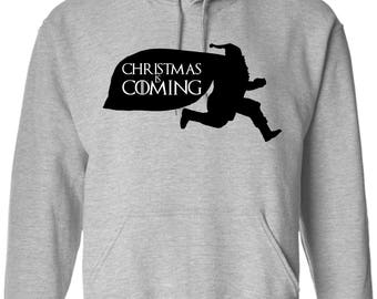 Game of Thrones Santa Is Coming House Santa Funny Men's Long Sleeve Tech Hoodie