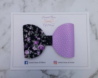 Large Bow Headband Or Clip | Floral, Purple Leather, Black Glitter | Baby Headband, Girls Clips, Big Bows