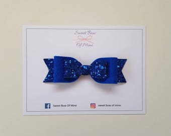 Blue Bow Headband or Clip | Blue Glitter & Wool Felt | Baby Headband, Baby Bow, Girls Clip, Glitter Bows