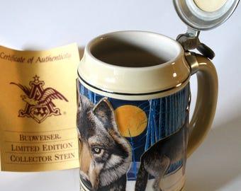 Unique Budweiser Gray Wolf Beer Stein Repurposed Keepsake Cremation Urn