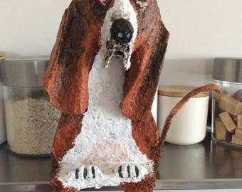 The basset hound, paper mache and acrylic.