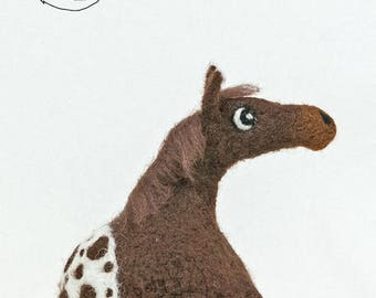 Roly Poly Pony -Appaloosa (blanket spotted)- Needle Felted decorative sculpture.