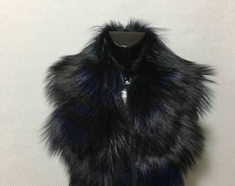 Gorgeous Real Natural  Black and navy blue  Fur Collar