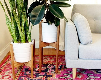 Set of Large and Medium Mid Century Modern Plant Stands