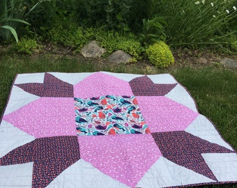 Weathervane Beauty Baby Quilt (Pink, Purple, and Grey With a Soft Minky Backing)