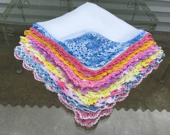 Handkerchief  9 Vintage Linen Hankies Hand Crochet Lace Trim assorted Hanky Lot