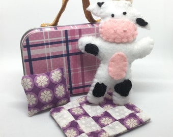 Altoid Tin Felt Cow / Travel Quiet Toy / Leather Handle Suitcase / Quilt and Pillow