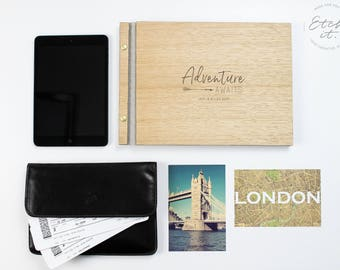 Travel Scrapbook Album, Travel album, Wood Travel Photobook, Personalised, Custom Travel Book, Travel Gift, Travel Photo Album