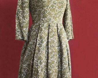 50's cachemire pattern dress handmade