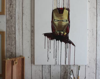 Ironman Painting - Original one of a kind hand painted on canvas