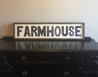 "Framed Wood Sign-Wall Decor Framed Quotes-Farmhouse Framed Sign-Handcrafted Farmhouse Rustic Home Decor--""FARMHOUSE"""