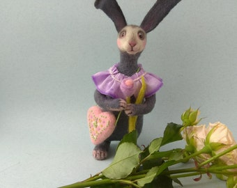 Gray bunny Soft toy Rabbit sculpture Needle felted animal Made is wool Toy bunny decor home  Bunny lover gift  Bag purple collar flower