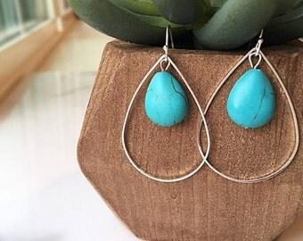 Teardrop Turquoise Earrings, Turquoise Drop Earrings, Dangle Earrings, Sterling Silver Earrings, Turquoise Stone Earrings