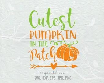 Cutest Pumpkin In The Patch SVG File Silhouette Cutting File Cricut Download Print Vinyl sticker T Shirt Design Halloween Pumpkin Patch Svg