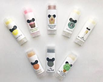 PICK YOUR FIVE Disney Park Flavored Lip Balm Set, Disneyland, Disney lip balm, Disneyworld