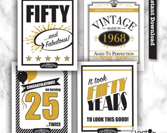 50 Poster, 50th party sign, 50th birthday printable, 1968 sign