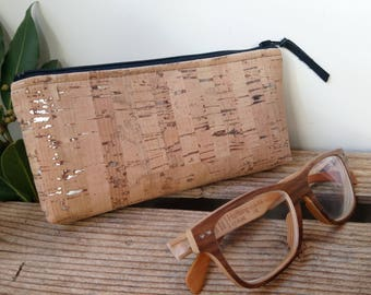 leather glasses case - vegan - Cork - cork - gift for her - gift for him - handmade - eco-friendly - made in France - ethical