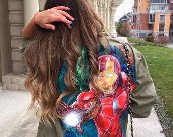Iron man marvel painted denim jacket (price only for painting)