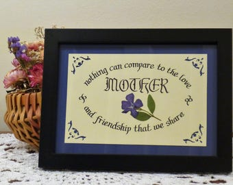 Framed Calligraphy for Mother with Real Pressed Dark Blue Periwinkle Flower