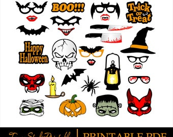 PRINTABLE PDF Halloween Photo Booth Props - PDF file - Halloween party - Masks, Lips, Glasses - Instant Download 003