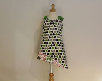 Black and Green Polka Dot and Floral Reversible Sundress