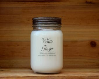 White Ginger 16 oz. Soy Candle-Soy Candles Homemade-Hand Poured-Highly Scented-Mason Jar Candles-All Natural Soy Candles-Summer Scented