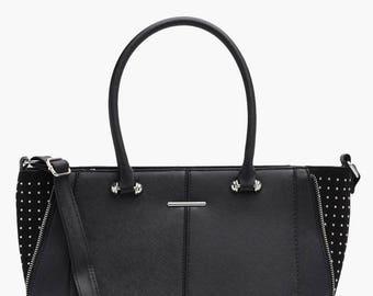 Contrast Suede Leather Crosshatch Bag - Pinstude Block Zip Detailed Tote Bag