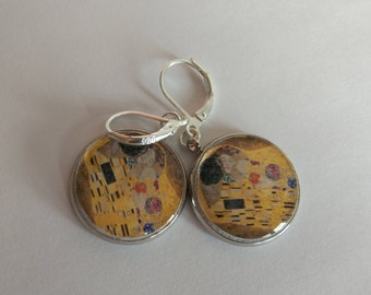 The Kiss Gustav Klimt with silver 925 hooks leverback