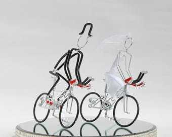 Wedding Cake Topper, Triathlon Bike Wedding Cake Topper, Handmade, Bicycle Cake Toppers, Mr and Mrs Triathlon Bikes with Black Wheels.