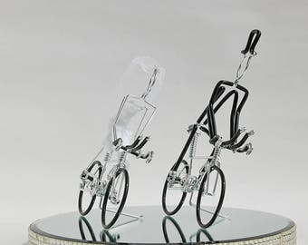 Wedding Cake Topper, Triathlon Bike Wedding Cake Topper, Handmade, Bicycle Cake Topper, Mr and Mrs Triathlon Bikes with Black Wheels, BkBkBk
