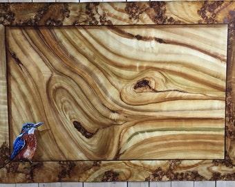Elm tree wood imitation with Trompe l'oeil Kingfisher Original painting
