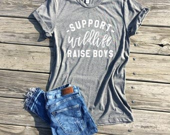 support wildlife raise boys, light grey unisex tee, mom shirt, mom gift, gifts for mom, mom life shirt, mommy and me, boy mom shirt