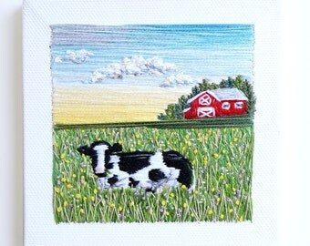 The Farm | Handmade | Hand Embroidery| Wall Art | Home Decor | | Landscape | Minimalism | Tiny embroidery | Textile Artwork |Souvenir