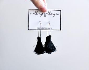 Black Tassel Earrings// Silver Hoop Tassel Earrings// Fringe Tassel Hanging Earrings
