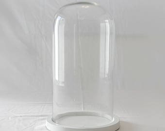 Glass Cloche with White Base