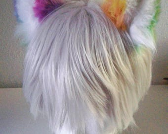 Super Fluffy Rainbow Kitten Ears